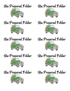 Student Take Home Folder Labels - Safari Theme