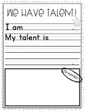 Student Talent Worksheet!