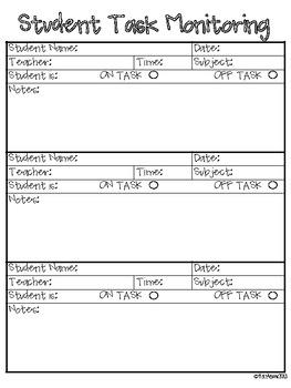 Student Task Monitoring Sheet