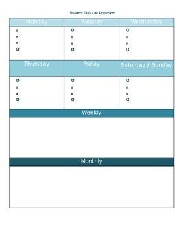 Student Task Organizer (Blank)