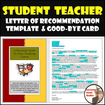 student teacher card letter of recommendation template both editable
