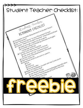 Student Teacher Checklist Freebie