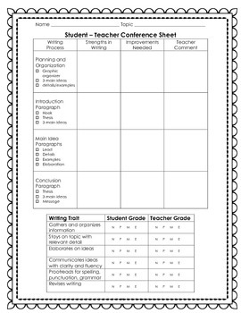 Student - Teacher Conference / Rubric Sheet