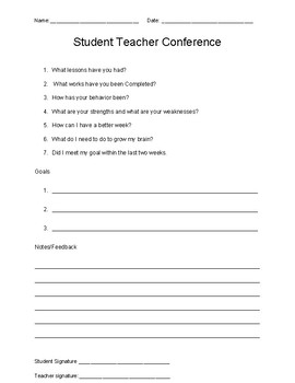student teacher conference form by shenetta collins tpt