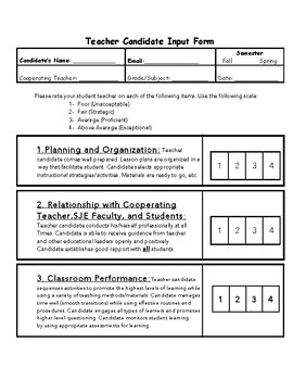 Student Teacher Evaluation Form