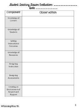 Teaching Evaluation Form | Student Teacher Evaluation Form By The Cozy Crafty Classroom Tpt