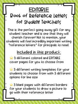 Student Teacher Gift⎮Book of Reference Letters⎮Editable