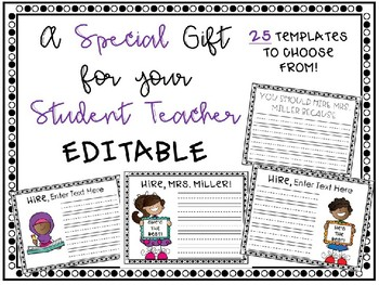 student teacher gift recommendation letters from students