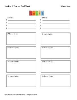 Student & Teacher Goals Sheet