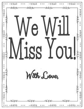 Student Teacher Goodbye Book