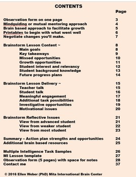 Brain Based Observation Form - to Support Teacher Growth