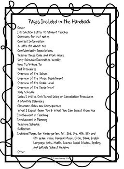 Student Teacher Handbook for Any Classroom