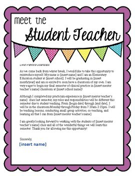 letter template meet the student teacher  Student Teacher Introduction Letter To Parents Worksheets ...