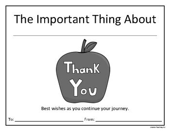 Student Teacher Thank You And Keepsake: THE IMPORTANT THING