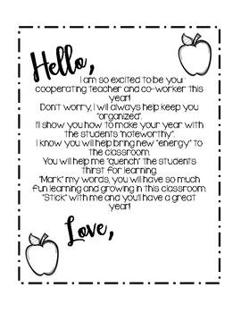 Student Teacher Letter from Mentor Teacher/Cooperating Teacher