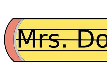 pencil name tag editable
