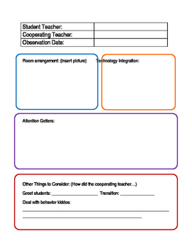 Student Teacher Observation Forms