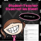 Student Teacher Observation Sheet