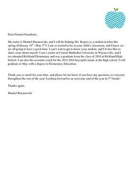student teacher parent introduction letter by shantel