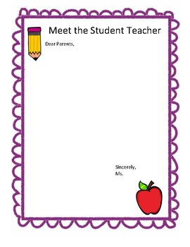 Student Teacher Parent Letter Template By MsFrank TpT - Parent letter template