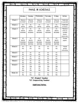 Student Teacher Phase in Schedule
