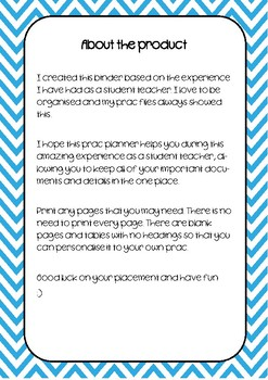 Student Teacher Practicum Planner - Blue Chevron
