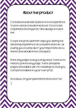 Student Teacher Practicum Planner - Purple Chevron