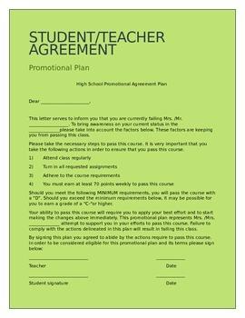 Student/Teacher Promotional agreement letter (HS/MS)