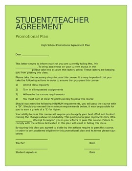 Agreement Letter | Student Teacher Promotional Agreement Letter Hs Ms By Becky S Wl Store