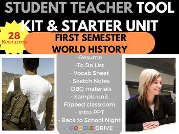STUDENT TEACHER STARTER KIT SURVIVAL BUNDLE WORLD HISTORY FIRST SEMESTER