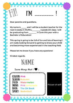 Student Teacher Welcome Letter Example