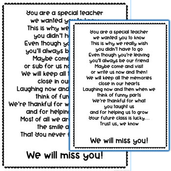 Student Teacher or Long Term Sub Goodbye Book