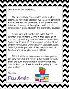 Student Teaching Letter- Middle School