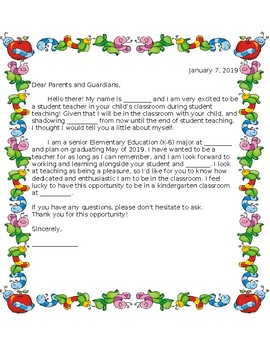 Student Teaching Letter for Parents