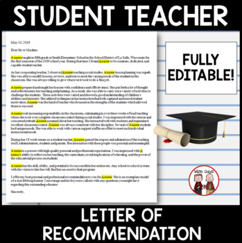 Student Teaching Letter of Recommendation