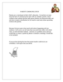Student Teaching Teacher Parent Communication Email Letters Home