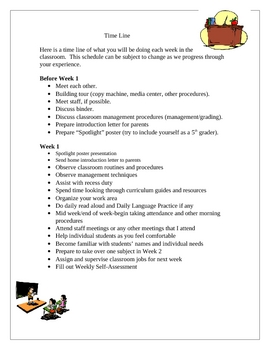 Student Teaching Teacher Time Line of Teaching Responsibilities