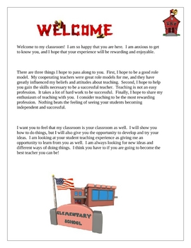 Student Teaching Teacher Welcome Letter by Wise Guys | Teachers