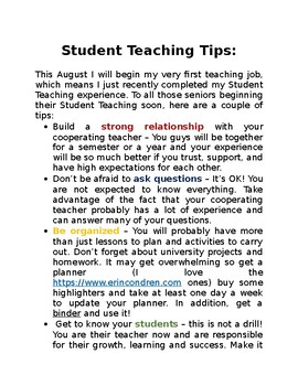 Student Teaching Tips
