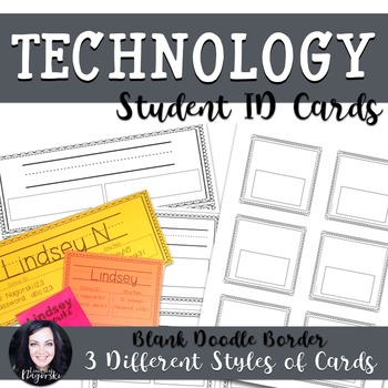 Student Technology Log in and Password Cards- Fancy Borders