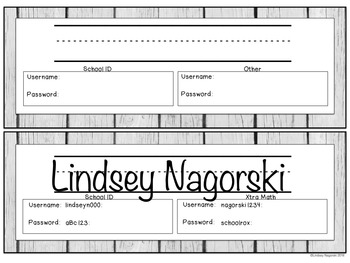Student Technology Log in and Password Cards- Rustic Wood