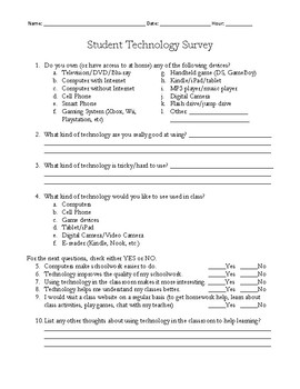 Student Technology Survey Questionnaire