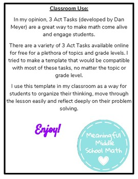Student Template for 3 Act Math Tasks
