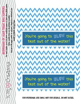 Student Test Bag Toppers: You're going to BLOW this test out of the water!