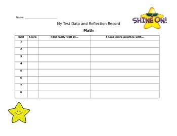 student test record sheet by stars teachers pay teachers