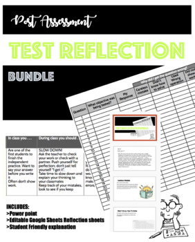 Student Test Reflection Bundle POST TEST REFLECTION