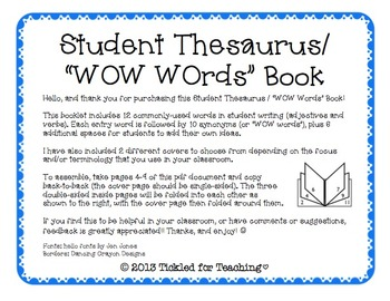 Student Thesaurus / WOW Words Book