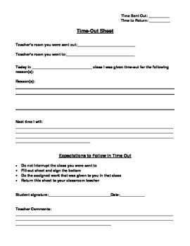 Student Time Out Sheet