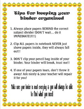Student Tips for a Clean Binder/Notebook