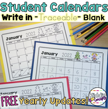 Student Traceable Calendars and Blank Calendars 2020 - Great Parent Gift